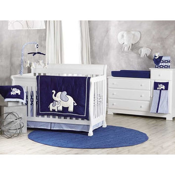 Koala Baby First Love 4 Piece Crib Bedding Set - Elephant - Navy/Light Blue
