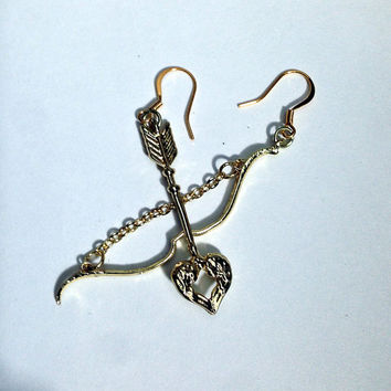 Gold Cupid Earrings, Archery Jewelry, Bow and Arrow, Heart Arrow, Archer Style, Gold Color, Dangle Earring