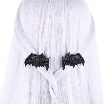 Black Lace Vampire Wings Hair Clips Occult