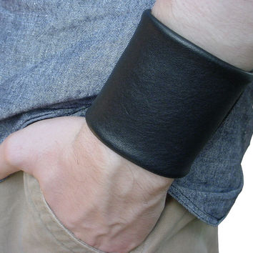 Wide Leather Cuff with Velcro, Bikers, Musicians, Black Brown, Men, Women, custom made