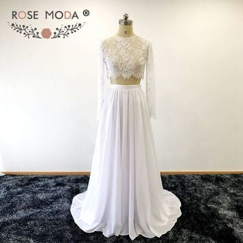 Rose Moda Long Sleeves Crop Lace Top Two Piece Wedding Dress Chic 2 Piece Destination Boho Wedding Dress Sweep Train