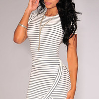Black White Striped Short Sleeve Wrap Bodycon Mini Dress