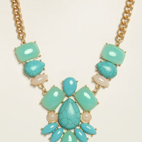 Carved in Stone Turquoise Rhinestone Necklace
