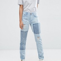 ASOS Brady Low Rise Patchwork Boyfriend Jeans in Light Wash Blue at asos.com