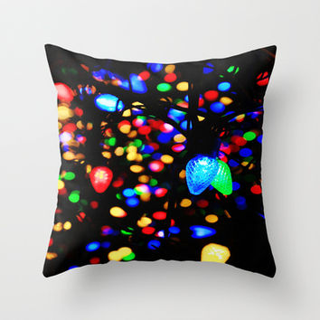 Christmas Lights Throw Pillow by 2sweet4words Designs