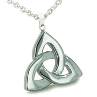 Celtic Triquetra Knot Magic Amulet Hematite Protection Powers Pendant 22 Inch Necklace