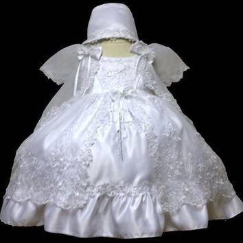 Baby Girl Toddler Christening Baptism Dress Gowns outfit set with bonnet /XS/S/M/L/XL/0-3M/3-6M/6-12M/12-18M/18-24M/XSMALL/SMALL/MEDIUM/LARGE/XL/2t/#5606
