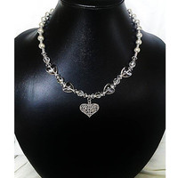Crystal Heart and Grey Silver Bead, Heart Pendant Necklace (Upcycle Jewellery) -  British (UK) Jewellery Designer