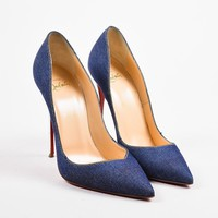 QIYIF Christian Louboutin Blue Denim  So Kate 120  Pointed Toe Pumps
