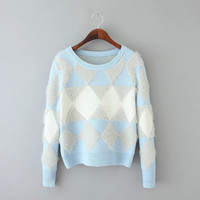 Diamond Pattern Knitted Sweater