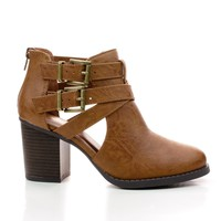 Scribe Tan Pu by Soda, Tan PU Round Toe Dual Buckle Side Cut Out Block Stacked Heel Ankle Bootie