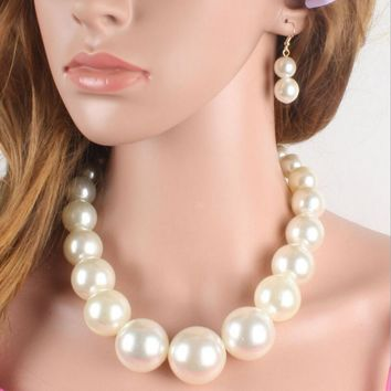 Womens African Charm Beads Big Imitation Pearl Strand Jewelry Statement Choker Necklaces Set Trendy Wedding Jewelry Gift