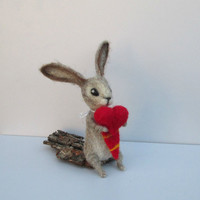 Felted Rabbit Red heart Valentines gift wool bunny Cute animal figurine Love present Felted Animal Valentines ornament Woodland Home Decor