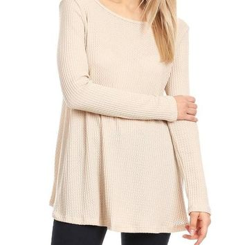 Loose Fit Long Sleeve Crisscross Top