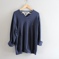 Tommy Hilfiger Sweater Navy Blue Cotton Sweater Blue Pullover Slouchy Sweater V-neck Unisex Knit Oversize Vintage 90s Size XXL