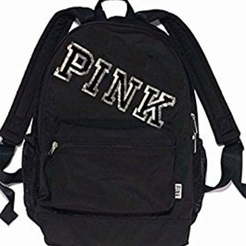 VICTORIAS SECRET PINK Bling Sequin CAMPUS BACKPACK BOOKBAG BLACK