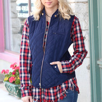 Solid Quilted Vest {Navy}