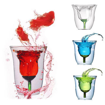 Creative Rose Pattern Double Wall Glass Cup Clear Wine Cup Heat Resistant Drinking Bar Glassware