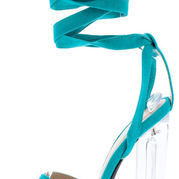 Jadisbel Open Toe Crisscross Clear Heels- Blue