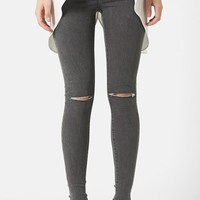 Women's Topshop Moto 'Joni' Ripped Skinny Jeans (Grey) Regular and Short