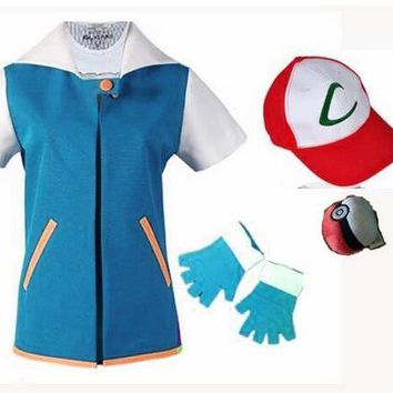 Adult - Pokémon Ash Ketchum Trainer Costume (T Shirt + Gloves + Cap)