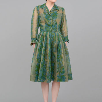 50s Dress Green Floral Dress Sheer Overlay Shirtwaister Nylon Chiffon Full Skirt Party Cocktail Dress 1950s Shirt Dress