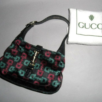 Authentic Gucci Limited Edition Mini Jackie Satin Lizard Evening Bag