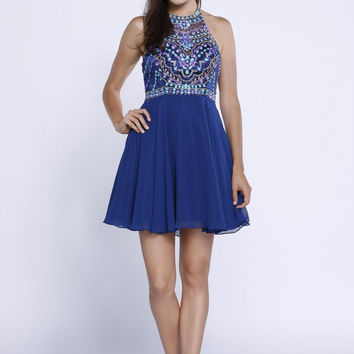 Multicolor Beaded Chiffon Halter Dress