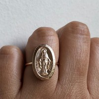 Large Miraculous Medal, Virgin Mary Ring, Miraculous Medal Charm, Miraculous Medal, Blessed Mother, Mother Mary, Mary Ring, 14k Gold Filled