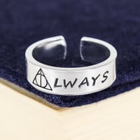 Deathly Hallows Always Ring - Harry Potter - Adjustable Aluminum Cuff Ring