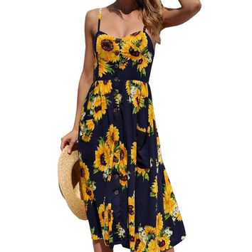 2018 Vintage Printed Dress  vestidos bodycon Summer Beach Dress pineapple pattern women Chiffon dress Sling Sleeveless dress