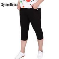 SymorHouse New Fashion Plus Size 6XL Pants for Women Casual Stretch Black White High Waist Pockets Women Pencil  Pants Capris