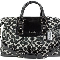 Coach Signature Large Ashley Satchel Duffle Bag Purse 15440 Black White