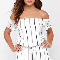 Honest to Goodness Ivory Striped Off-the-Shoulder Romper