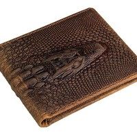 Alligator Head Chestnut Leather Bi-fold Wallet