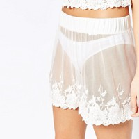 Vila | Vila Sheer Lace Bed Shorts at ASOS