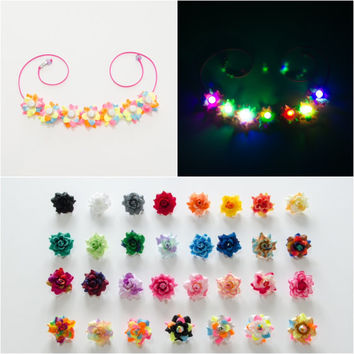 Customizable LED Rose Flower Crown, Flower Headband, Coachella Crown, Electric Daisy Carnival, Bonnaroo, Ultra Music Festival, Burning Man