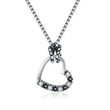 S925 Silver Necklace Vintage Heart-Shaped Hollow Necklace