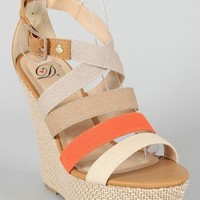 Delicious Clean-S Strappy Colorblock Open Toe Wedge