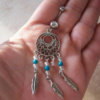 Dream Catcher Belly Ring with Turquoise and Clear Bead Accents With Feathers
