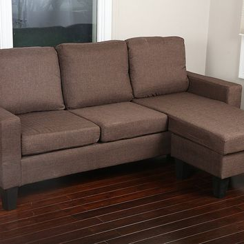 New Century® Brown Linen Modern Adjustable Sectional Sofa