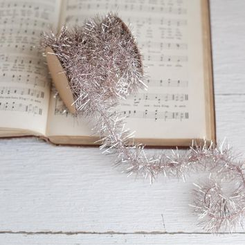 Tinsel Garland - Pale Blush Pink Vintage Style Christmas Trim, 12 Foot Spool