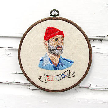 Wes Anderson's Steve Zissou from The Life Aquatic Thread Portrait | 7.5 Inch Hoop Art