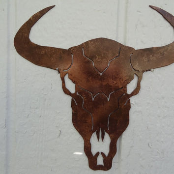 Cow Skull Solid Metal Wall Art Antique Copper Color Country Rustic Home Decor