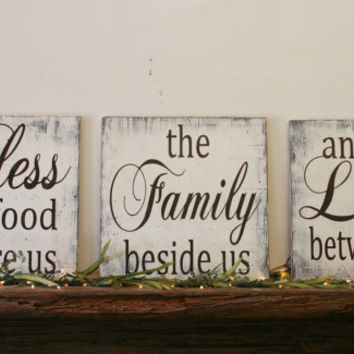 Bless The Food Three Piece Wood Set Kitchen Sign Dining Room Sign Shabby Chic Wall Decor Wedding Gift Bridal Shower Gift Housewarming Gift