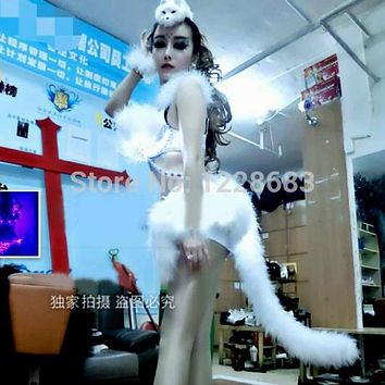 New 2015 Fox Cat Hot Sexy Women Led Light Stage Outfit Clothes Female Singer Star Costume Jazz Dance Stage Costumes For Singers Macchar Cosplay Catalogue