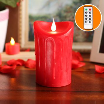 """Dripping Free-Flowing 3D Fireless Flame LED Pillar Candle with Remote Control,Battery Operate, 3.5x5.25"""", Red"""