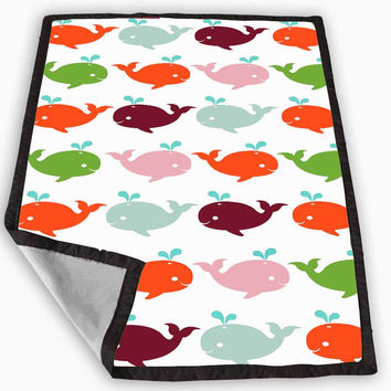 Preppy Whale Blanket for Kids Blanket, Fleece Blanket Cute and Awesome Blanket for your bedding, Blanket fleece **