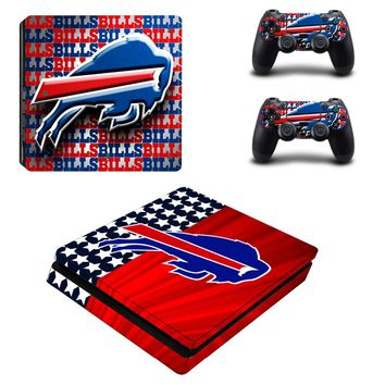 Buffalo Bills PS4 Slim Skin Sticker Decal for Sony PlayStation 4 Console and 2 Controller PS4 Slim Skins Sticker Vinyl Accessory