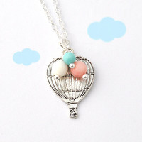 hot air balloon necklace  love is in the air  Up by myjewelrystory